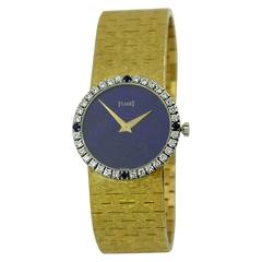 Piaget Lapis Dial Diamond Bezel with Sapphire Markers Gold Wristwatch