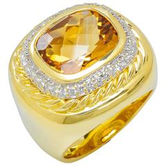David Yurman Citrine Diamond 18k Gold and Sterling Silver Cocktail Ring