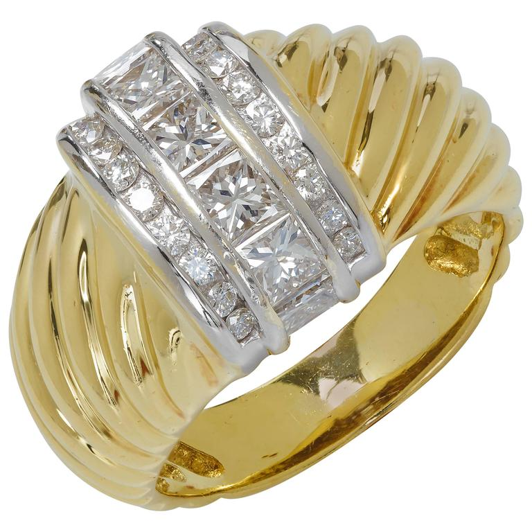 David Yurman Dome Diamond Gold Cable Ring