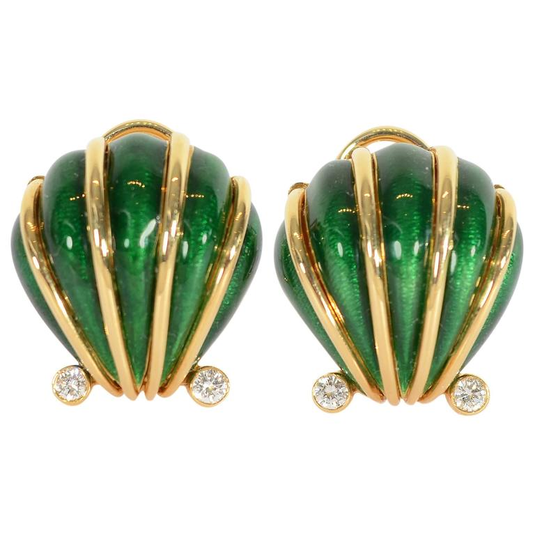 Tiffany & Co. Schlumberger Enamel and Diamond Shell Earrings For Sale