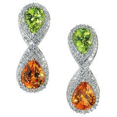 Samuel Getz 18 Kt White Gold Mandarin Garnet Chrysoberyl And Diamond Earrings For At 1stdibs