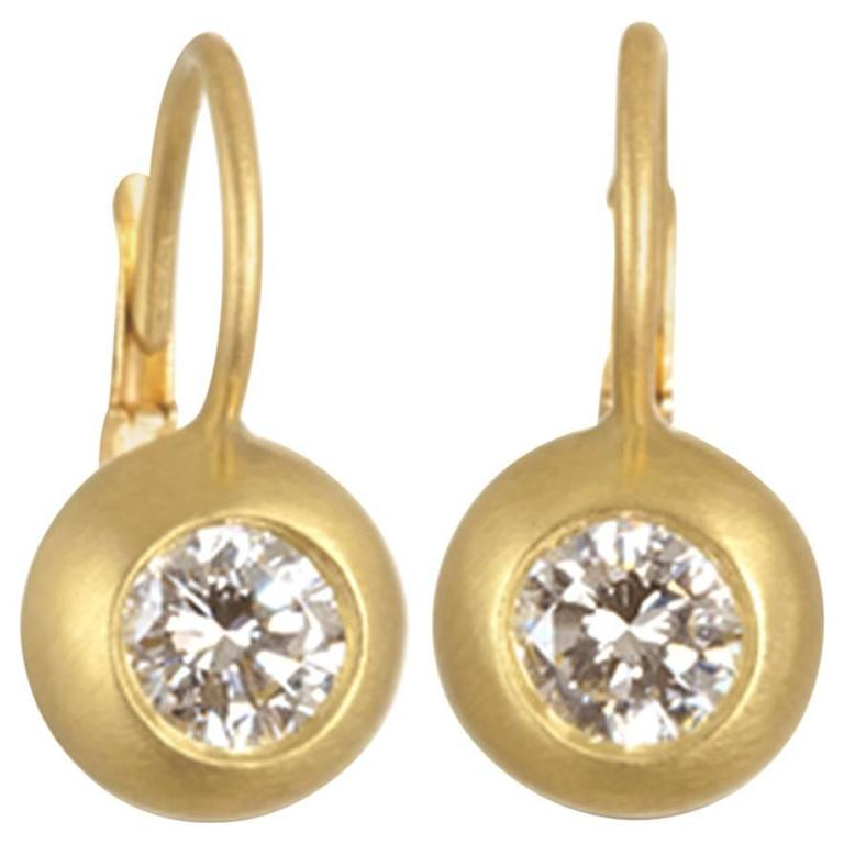 Faye Kim Diamond Gold Dome Lever Back Earrings For