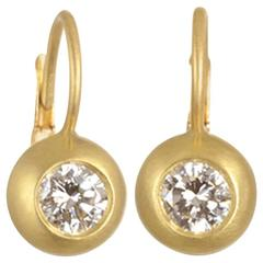 Faye Kim  Diamond Gold Dome Lever Back Earrings