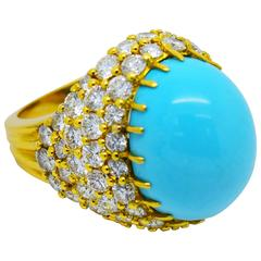 Fine Yellow Gold Persian Turquoise and Diamond Cocktail Bombe Ring