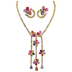 Bulgari Multicolored Sapphire Necklace and Earring Suite