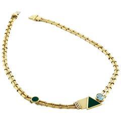 Manfredi Topaz, Pavé Diamond, Green Enamel and Gold Necklace
