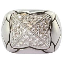 18K Brushed White Gold 1.2 Carats Pave Set Diamond Dome Ring
