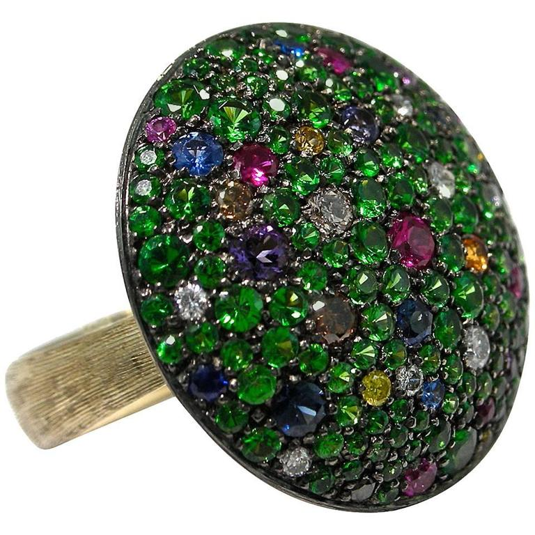 Jona Tutti Frutti Pave Gold Cocktail Ring 1