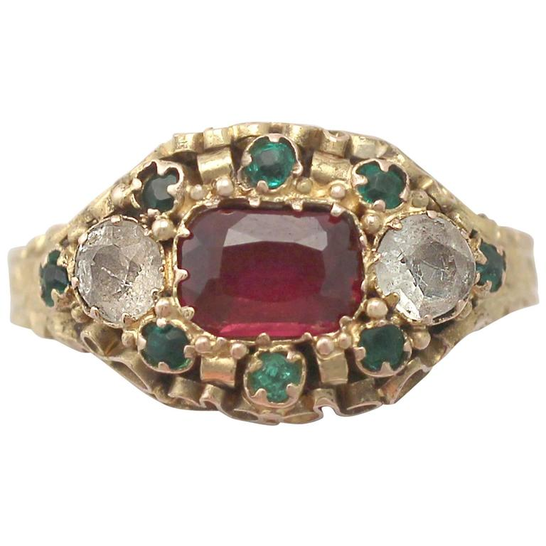 1870s Antique Victorian Paste and Yellow Gold Cocktail Ring For Sale