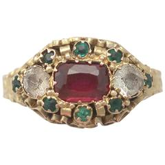 1870s Antique Victorian Paste and Yellow Gold Cocktail Ring