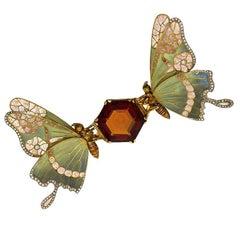 French Art Nouveau Topaz, Diamond and Enamel Butterfly Brooch