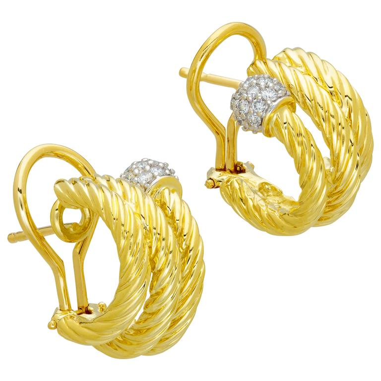 David Yurman Cable Earrings, 18 Karat Yellow Gold, Pave Diamonds, Omega Clasp
