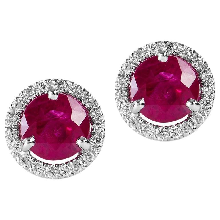 Vivid Round 2.08 Carat Burma Ruby and Diamond Pave Stud Earrings