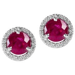 Vivid Round Burma Rubies Gold Halo Style Post Earrings