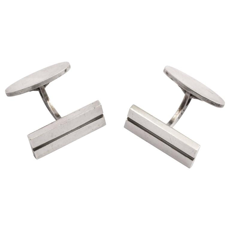 Georg Jensen Danish Art Deco Sterling Silver Cufflinks For Sale
