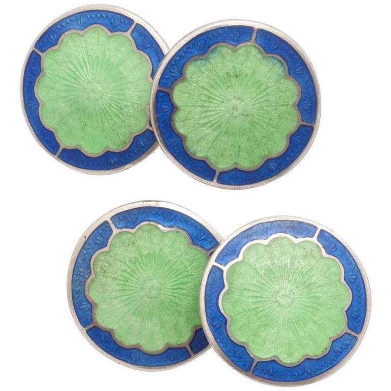 Bassett Jewelry Co. Sterling Silver and Guilloche Enamel Cufflinks For Sale