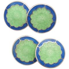Bassett Jewelry Co. Sterling Silver and Guilloche Enamel Cufflinks