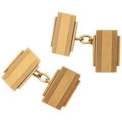 English Art Deco Gold Cufflinks with Box