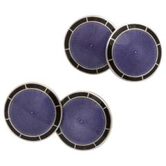 American Art Deco Sterling Silver and Guilloche Enamel Cufflinks