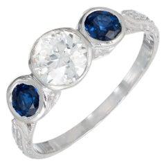 1.27 Carat Diamond Sapphire Pierced Three-Stone Art Deco Engagement Ring