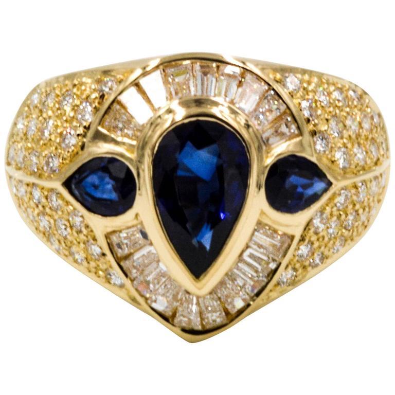 1.94 ct Blue Sapphires 1.12 ctw Diamonds 18 KY Gold Ring