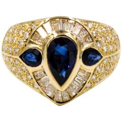 1.94 ct Blue Sapphires 1.12 ctw Diamonds 18 Karat Yellow Gold Ring