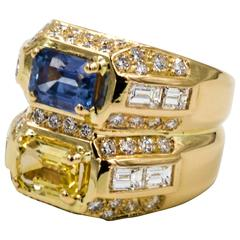Twin Contrasting Yellow and Blue Sapphire 18 Karat Yellow Gold and Diamond Ring