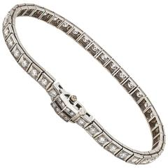 Tennis Bracelet Art Deco Style Platinum and Diamond 2.04 Carat