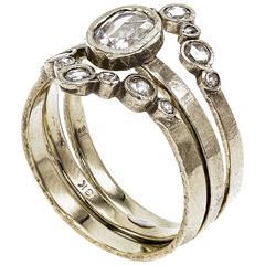 Contemporary White Gold Art Deco Three-Piece Ring