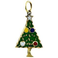 Christmas Tree Gold and Enamel Charm