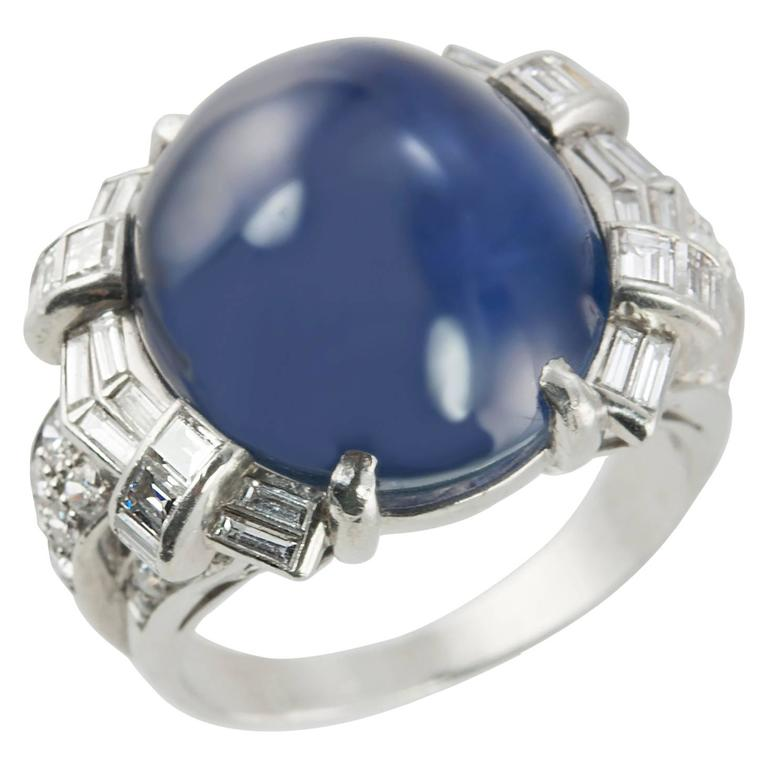 Art Deco Star Sapphire and Platinum Ring 1