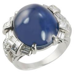 Art Deco Star Sapphire and Platinum Ring