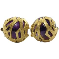 Unique 18K Gold Cabochon Amethyst Cufflinks