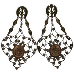Massive 19th Century Georgian Gold Earrings
