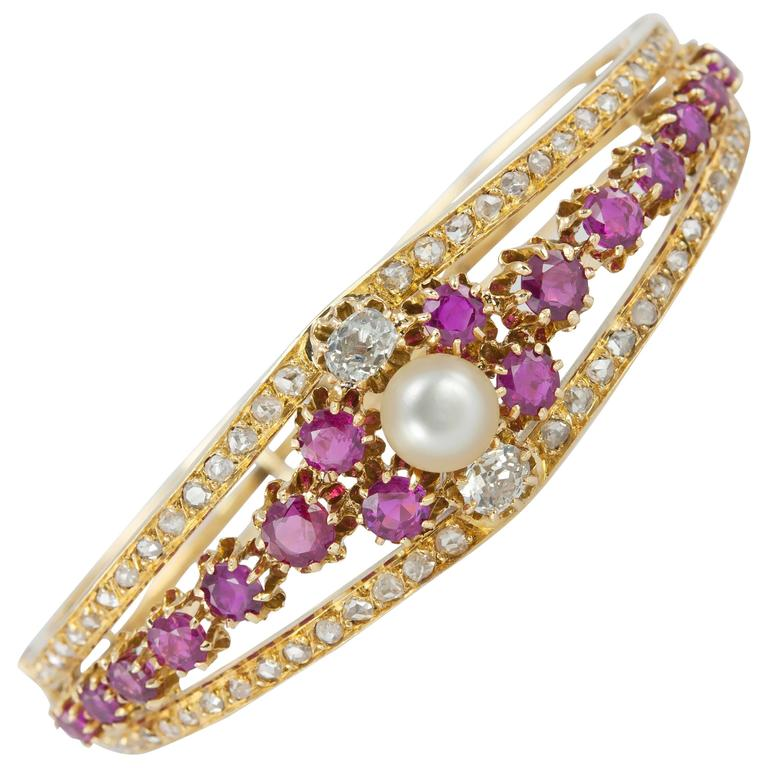 Victorian Ruby Pearl  Diamond Gold Bangle Bracelet