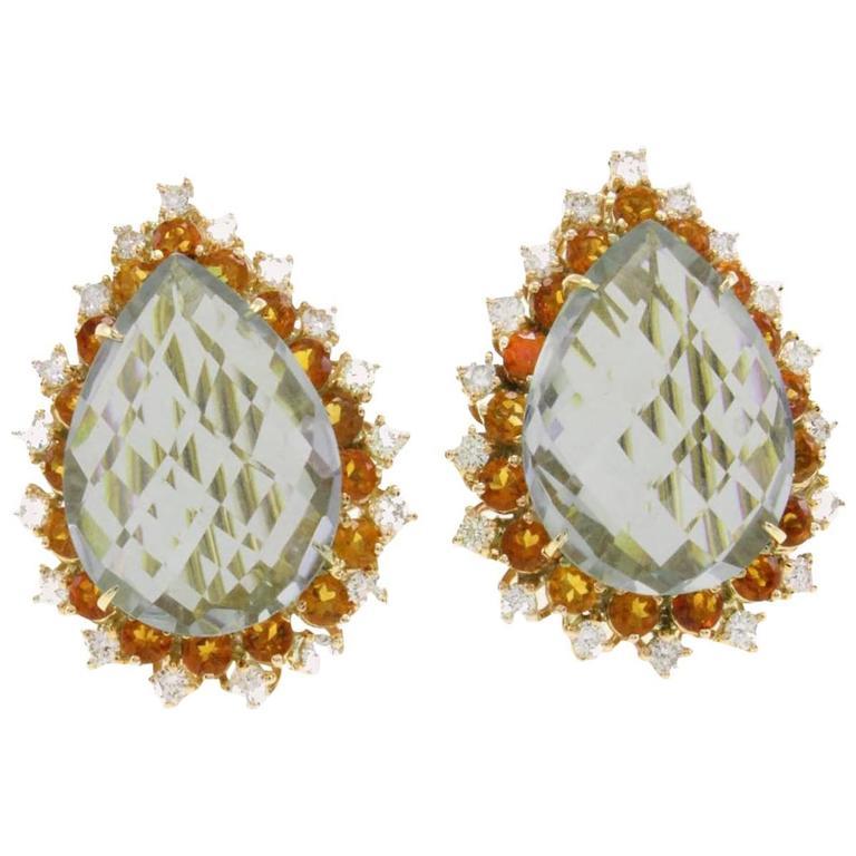 Ligth Green Amethyst Drop Gold Earrings