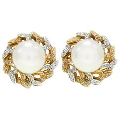 Luise Pearl Heart & Diamond Gold Earrings