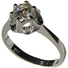 1950s Certified 0.60 Carat Diamond White Gold Engagement Ring