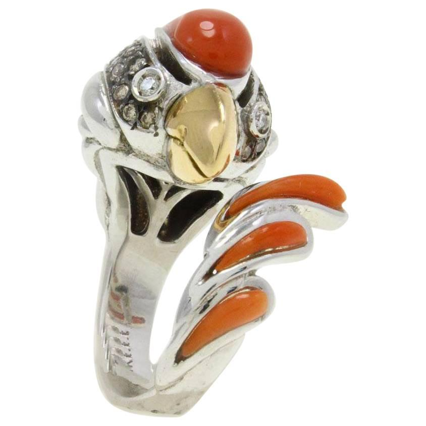 Fancy Diamond Italian Coral Gold Rooster Ring