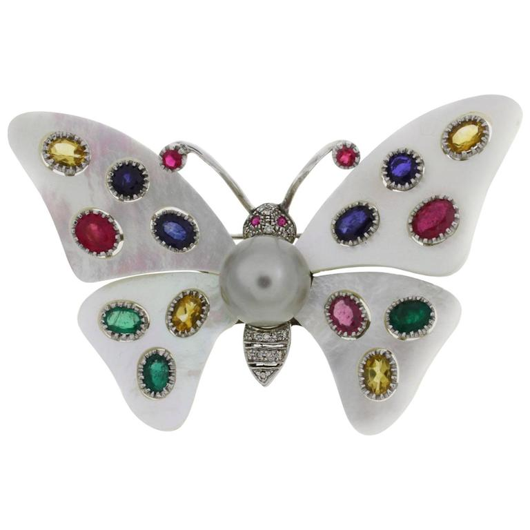 Mother-of-Pearl Sapphire Diamond Pearl Gold Butterfly Brooch For Sale