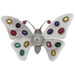 Mother-of-Pearl Sapphire Diamond Pearl Gold Butterfly Brooch