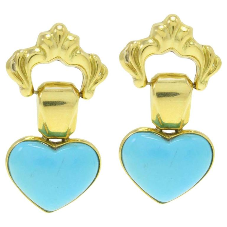 Luise Turquoise Gold Heart Earrings