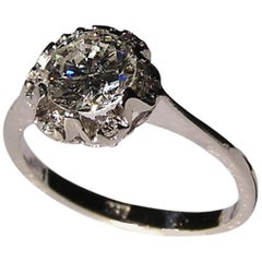 Antique Engagement 0.95 Carat Diamond White Gold Ring