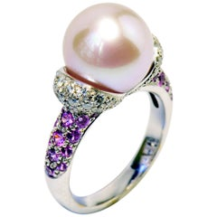Pink Fresh Water Pearl, White Diamonds and Pink Sapphires 18K White Gold Ring
