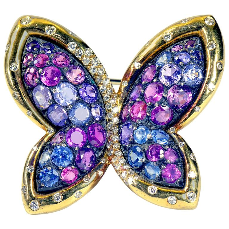 Colored Sapphires Butterfly Brooch Created by Marion Jeantet For Sale