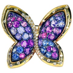 Colored Sapphires Butterfly Brooch Created by Marion Jeantet