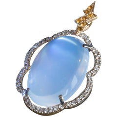 Marion Jeantet moon stone diamond Cloud Pendant with Gold Chain