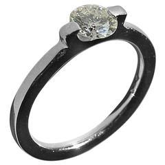 Engagement White Gold Ring 0.70 Carat Diamond