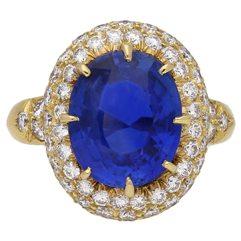 Van Cleef & Arpels Natural Burmese Sapphire and Diamond Ring For Sale
