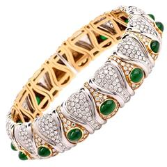 Spectacular  Diamond Emerald Cabochon Gold Choker Cuff Necklace
